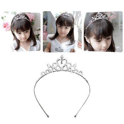 Rhinestone Crown Heart Tiara Hair Band Girls Kid Bridal Princess Wedding - Heart Tiaras