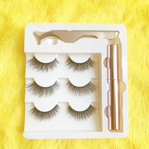 Waterproof Magnetic Eyeliner with 3 Pairs Eyelashes Tweezer Long Lashes Kit Set