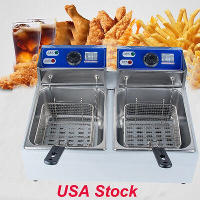 Usa 5000w Electric Countertop Deep Fryer Dual Tank Commercial Restaurant 11l