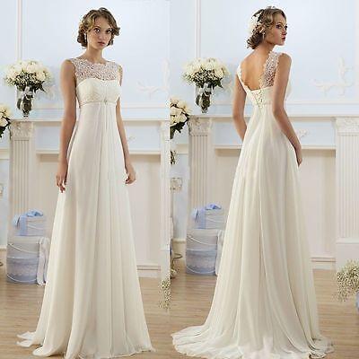 New White Ivory Chiffon Wedding Dress Bridal Gown Stock Size 6 8 10 12 14 16 18