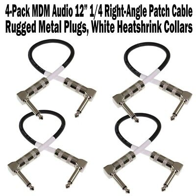 """4-Pack MDM Audio 18/"""" 1//4 Right-Angle Guitar Pedal Patch Cable Cord Black White"""