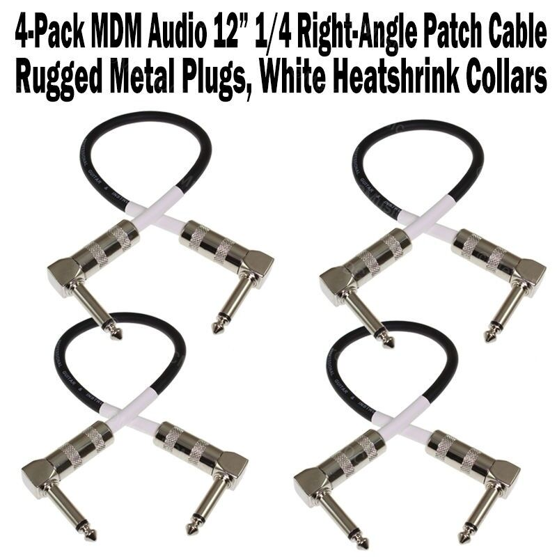 """2-Pack MDM Audio 18/"""" 1//4 Right-Angle Guitar Pedal Patch Cable Cord Black White"""