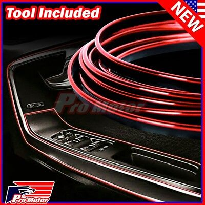 Shifter Accessories (Red 5M Car Interior Door Gap Edge Line Insert Molding Trim Strip Deco)