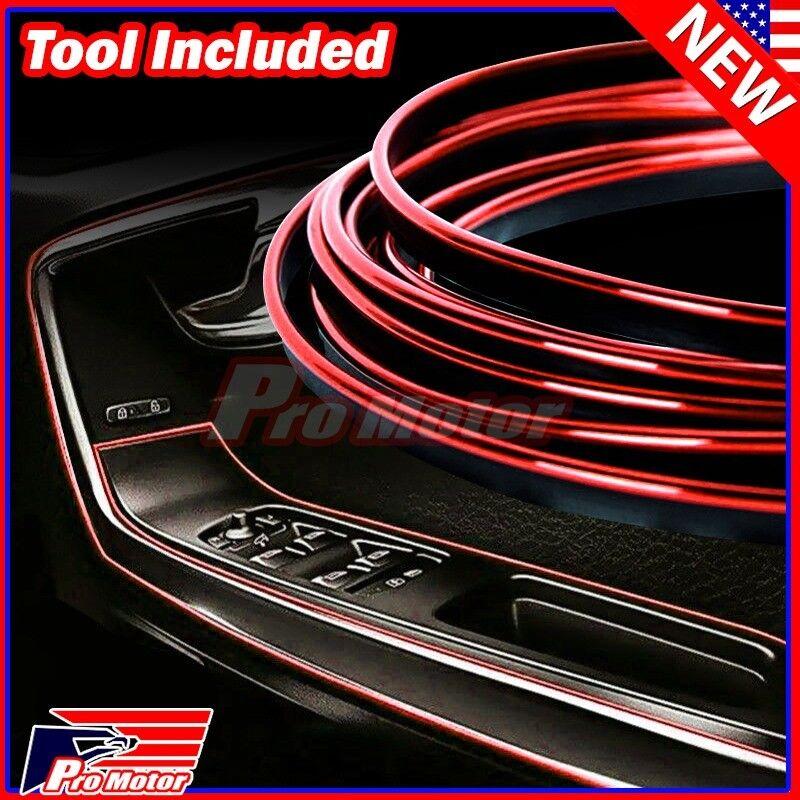 Red 5M 16ft Car Door Panel Edge Gap Strip Moulding Trim Decoration Accessory