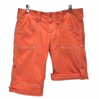 Aventura Womens Roll Tab Bermuda Walking Shorts Orange Stretch Pockets 6