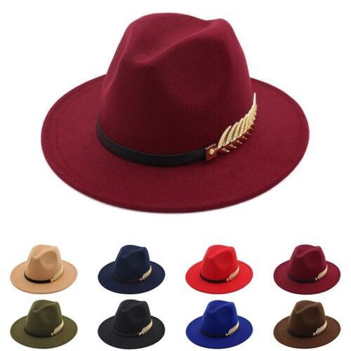 8 Farben Frauen Fedoras Hut Wolle Breitkrempe Jazz Church Cap Panama Hüte