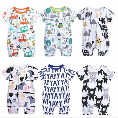 Toddler Kids Baby Boys Summer Playsuits Cartoon Romper Jumpsuit Outfit Clothes