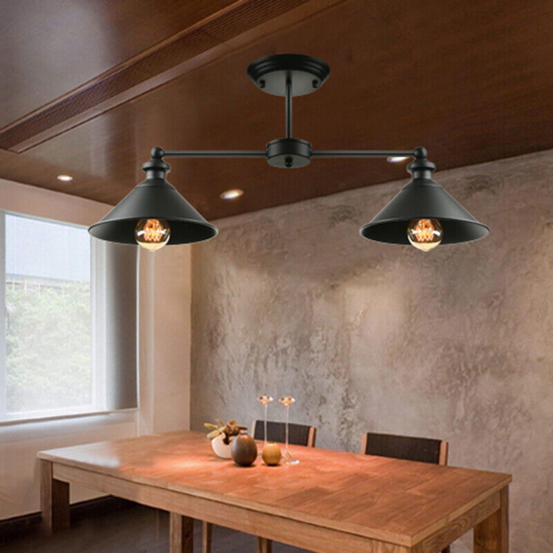 Details about Vintage Industrial 2 Heads Island Ceiling Light Pendant Lamp  Kitchen Bar Fixture