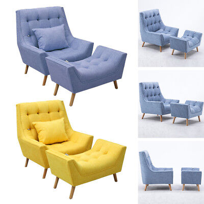 Modern/Retro Soft Fabric Tub Occasional Lounger Accent Chair Armchair Footstool