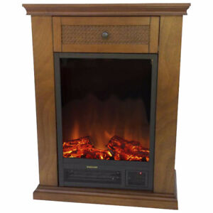 Cedar Compact Electric Fireplace with Remote, New