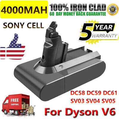 4.0AH BATTERY For DYSON V6 Absolute DC58 DC72 DC74 SV03 SV06 SV07 SV09 Sony Cell