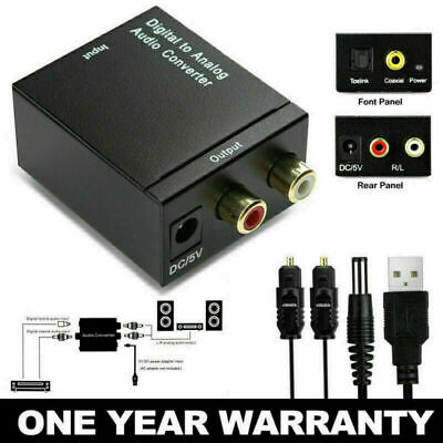 Digital to Analog Converter L/R Audio Adapter w/ Fiber Cable RCA Out Optical