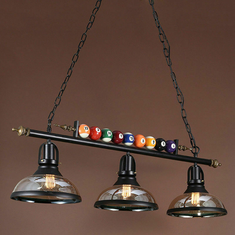 Pool Table Light Black: 3 Light Metal Ball Design Pool Table Light Billiard