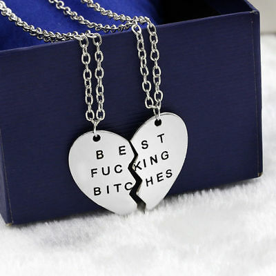 2pcs Women's Men Best Bitches Best Friend BFF Heart Friendship Pendant