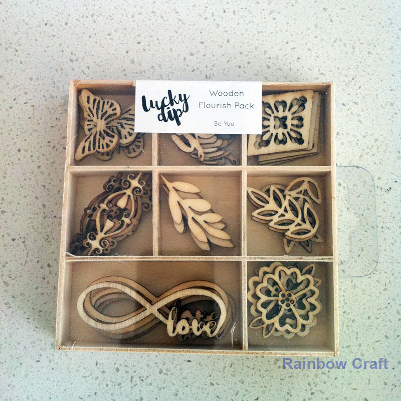 Kaisercraft Wooden Flourish packs / storage box 74 selections - Be You