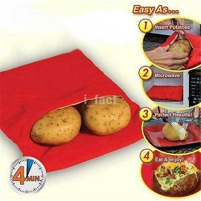 1PCS Corn Microwave Baked Potato Cooking Cooker Bag Washable Reusable Red US