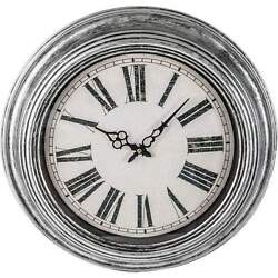 Gray Brushed Oil Rubbed Large Oversized 20 Round Wall Clock, Modern Rustic- NEW