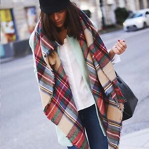 Femmes blanket surdimensionn echarpe tartan wrap ch le pashmina plaid v rifi ebay - Echarpe plaid femme ...
