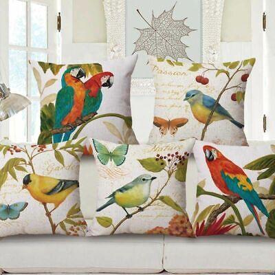European Bird Parrot Cotton Linen Decorative Throw Pillowcase Cover Cushion