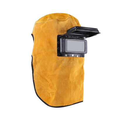 Leather Hood Electric Welding Helmet Face Mask Filter Lens Welder Protector Cap