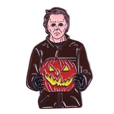 Michael Myers Halloween Horror Movie Pumpkin Cartoon Enamel Clutch Retro Tie Pin (Cartoon Pumpkins Halloween)