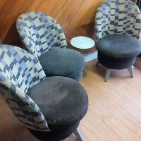 three nicely upholstered chairs