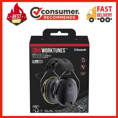 3M WorkTunes Connect Hearing Protector with Bluetooth Technology, 24 dB NRR, Ear