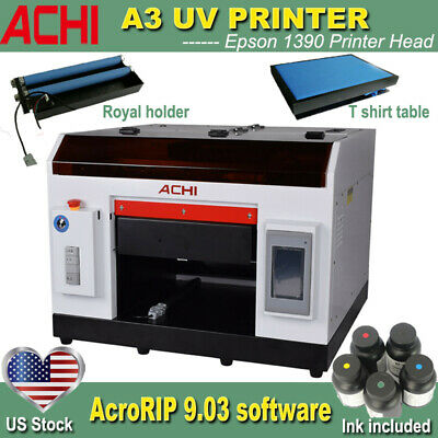 ACHI A3 UV Printer 1390 Printed Head For DTG Cylindrical 3D Embossed Rotary axis