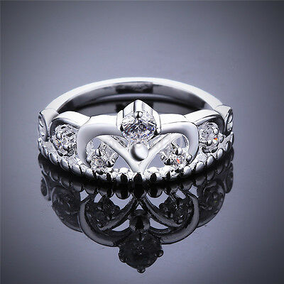 New Cheap Women 925 Silver Plated princess Crown Band Solid Ring Jewelry US