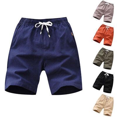 Herren Flat Front Kurze Hosen Kordelzug Baumwolle Atmungsaktiv Klassisch Shorts  - Klassische Flat Front Shorts