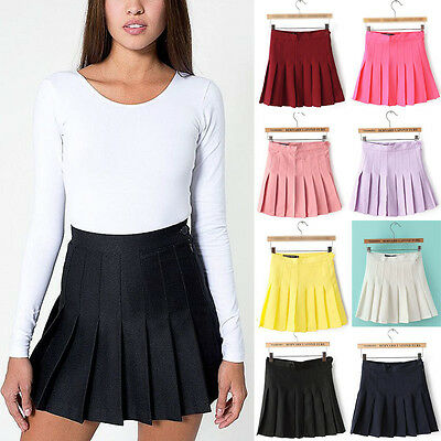 2017 Trends Womens Slim Thin High Waist Pleated Tennis Skirts Mini Dress Playful