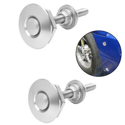2x Quick Release Push Button Bonnet Hood Pin Billet Latch Lock set Silver US