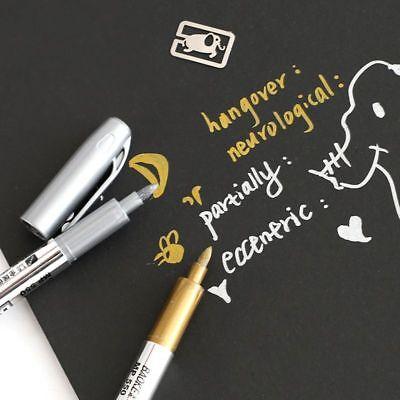 Metal Waterproof Permanent Paint Marker Pens Sharpie Gold Silver 2 Pcs