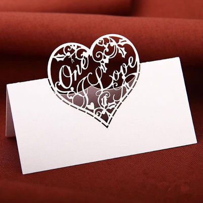 Party Place Cards (50*Name Place Cards Wedding Party Table Seating Numbers Love Heart Tags)