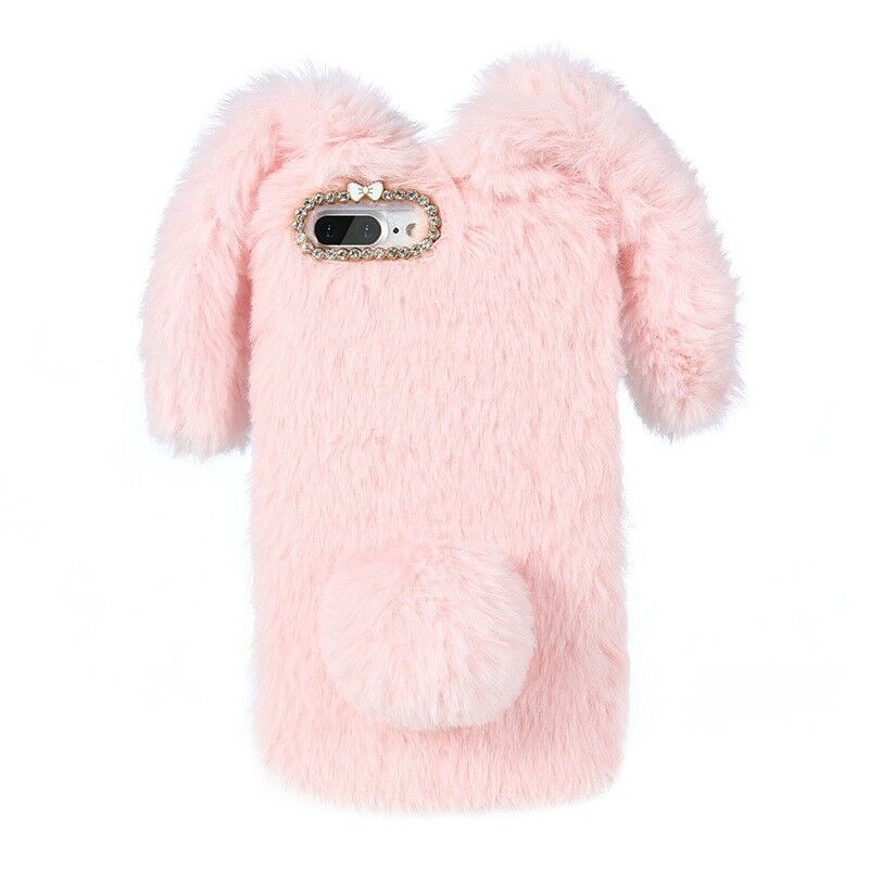 Bling Diamond Bunny Rabbit Fur Plush Fuzzy Fluffy Soft Phone Case for iPhone X 7