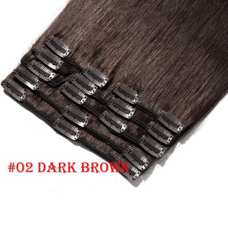 50CM 60CM Echthaar Clip In Extensions Remy Haar Haarverlängerung 8 teilig Set DE #02 Dunkelbraun