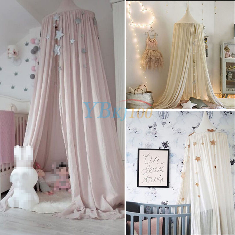 Cotton round dome princess bedding hanging canopy mosquito for Bed with mosquito net decoration