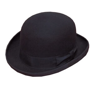 100-Wool-Adults-Black-Bowler-Hat-Mens-Womens-Fashion-Hat-Satin-Band-Lining