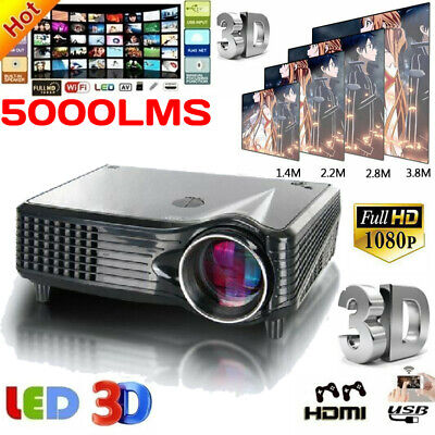 3D VS-508 Projector Full HD 1080P LED LCD HDMI Theater Cinema 5000 Lumens BT