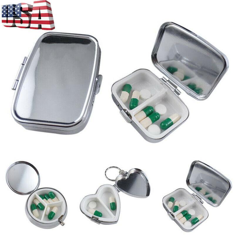 portable metal pill box tablet medicine storage