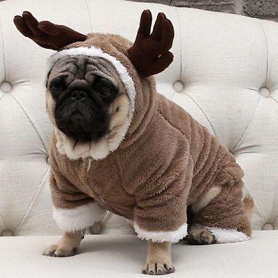 Autumn Winter Warm Small Dog Clothes French Bulldog Pug Cute Deer Costume Jacket - Deer Dog Costume