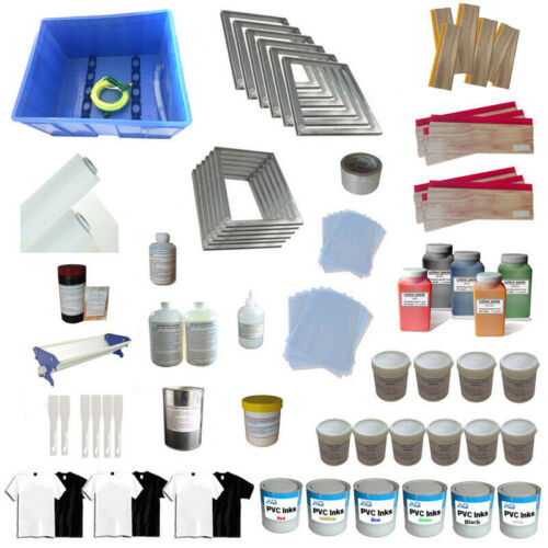 TECHTONGDA 6 Colors T-shirt Screen Printing Materials Set Squeegee Ink Supply