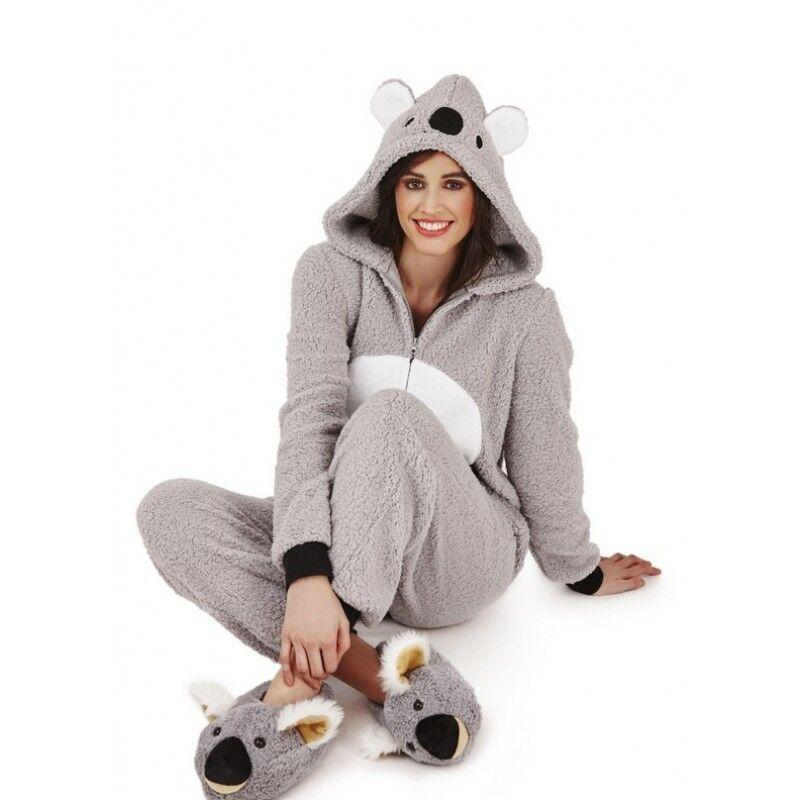 795dd4000b9 Ladies Or Girls Grey Plush 3D Koala Slippers Or 3D Fleece Onezee ...