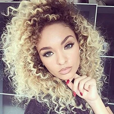 Bob Style Curly Afro Synthetic Wigs For Beauty Women Ombre Blonde Sexy Long (Sexy New Style Blonde Wig)
