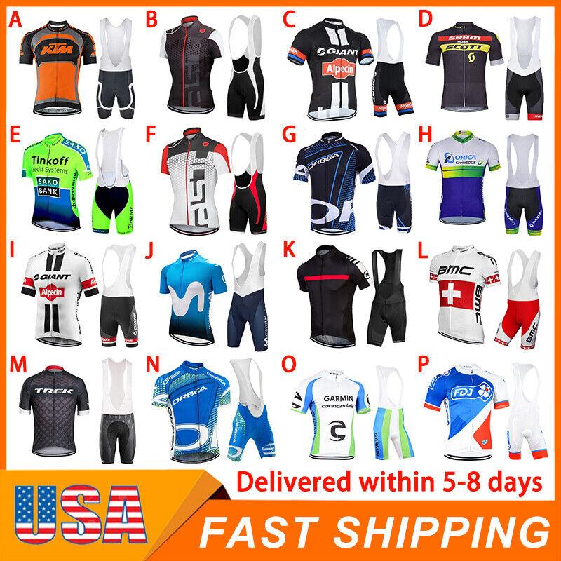 Mens Cycling Kits Short Jersey Bib Pants Set Shirt Tights Riding Clothing Outfit
