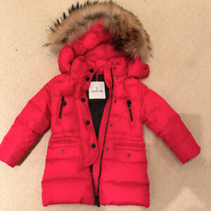 Girls Moncler winter coat with fur hood trim