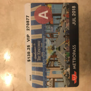July TTC MetroPass for sale