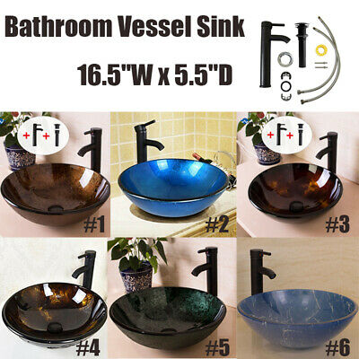 New Bathroom Tempered Glass Vessel Sink Top Basin Bowl Faucet Pop-up Drain -
