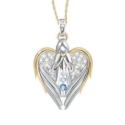 Two Tone 925 Silver Blue Topaz Angel Pendant Heart Necklace Chain Cross Jewelry Blue Topaz Heart Cross