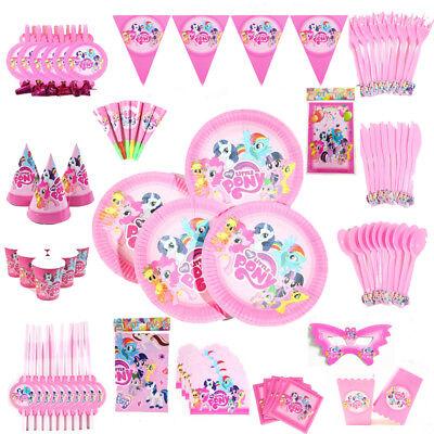 136 pcs My Little Pony Tableware Set Favor Kids Birthday Girls Party Supplies